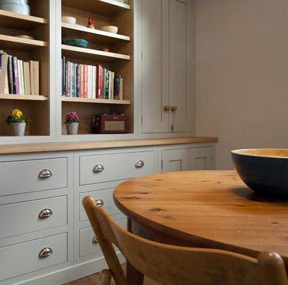 Shaker style kitchen with oak worktops