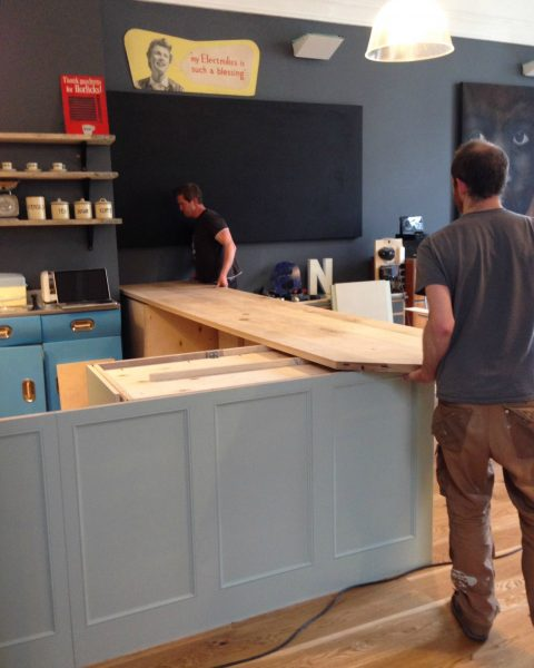 Worktop being fitted