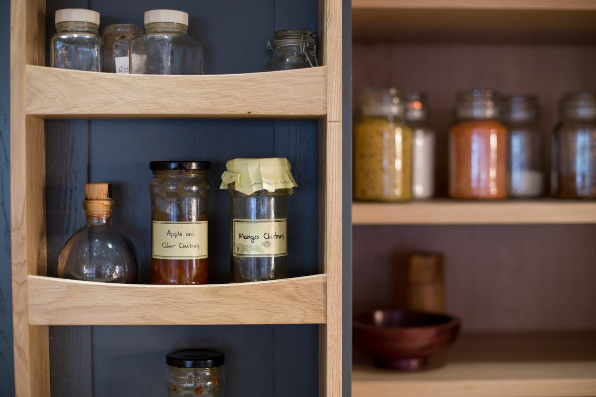Spice rack on the door of a larder cabinet