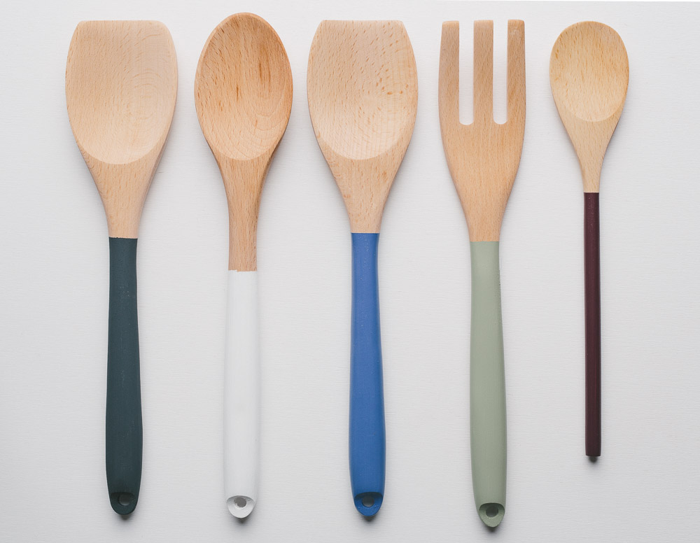 Our hand painted spoons showing an array of farrow & ball paint colours.