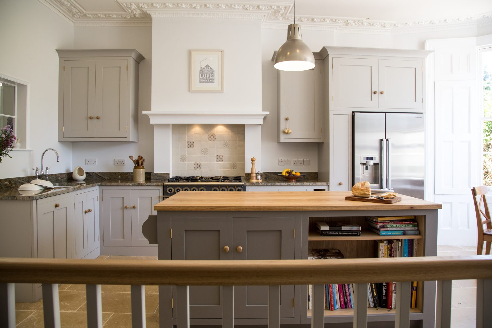 Shaker style oak kitchen with island