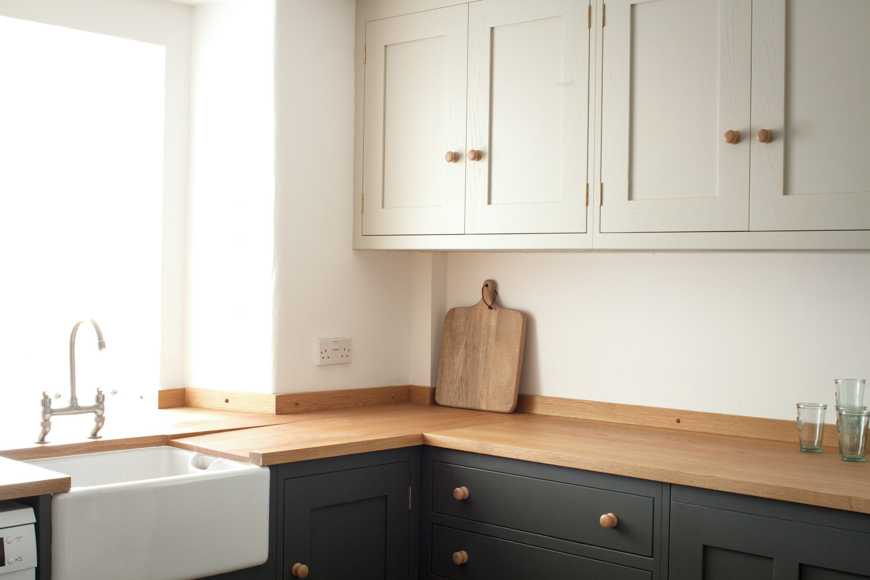 Farmhouse Sink Next To Oak Worktop In Shaker Style Kitchen Painted In  Farrow U0026 Ball Colours