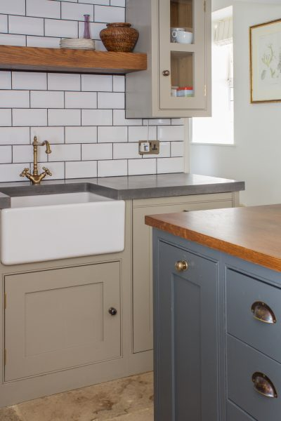 Oak shaker kitchen painted in Paper & Paints. Ammonia stained oak worktop, Belfast farmhouse sink and white metro tiles