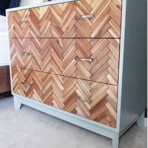 Herringbone floor chest of drawers from the Pursuit of Handyness.