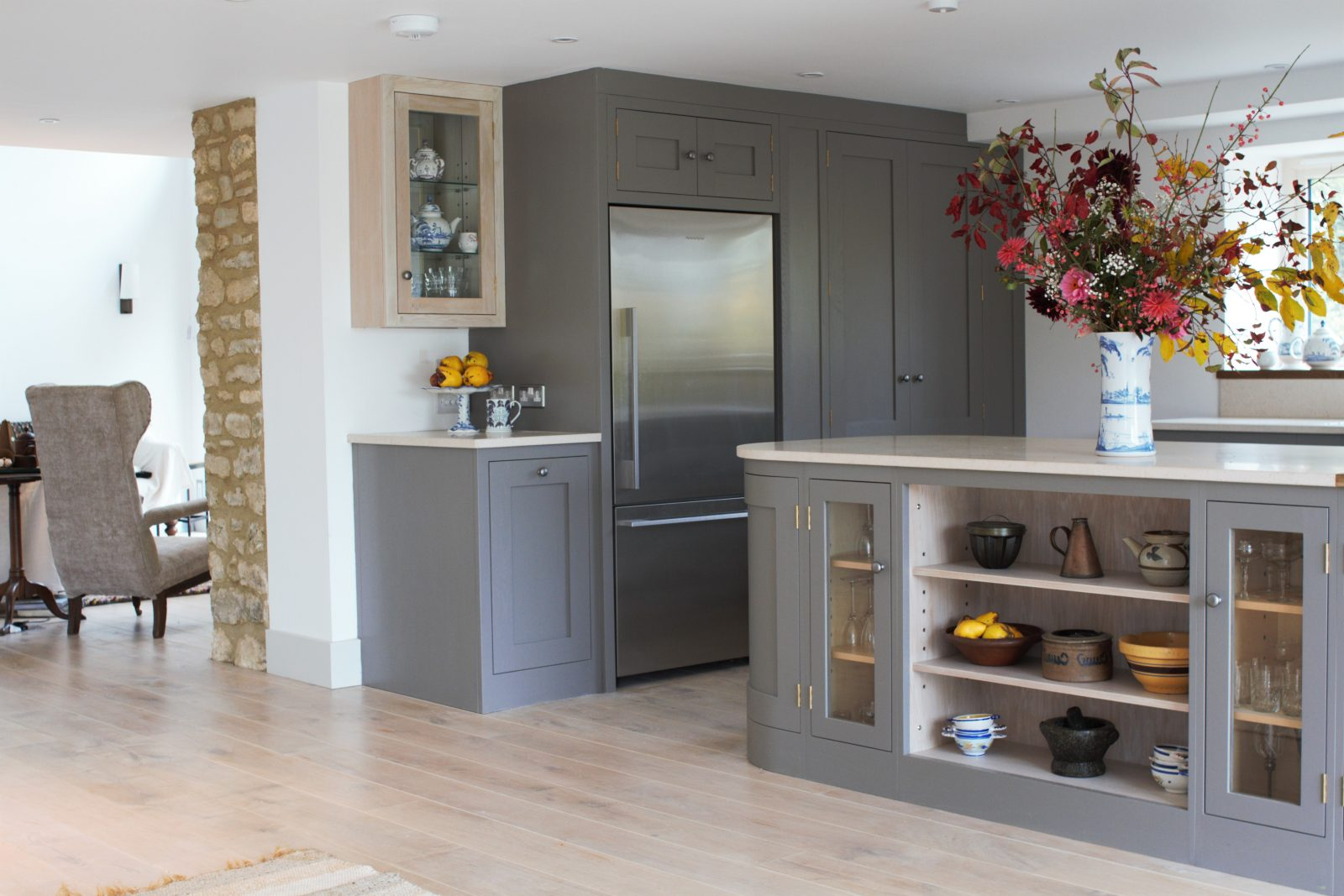 The Vine House, a modern style framed flat panel kitchen in a grade II listed building