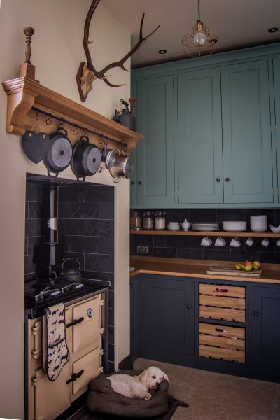 Bespoke shaker style kitchen with cream Rayburn oven and Farrow & Ball Down Pipe and Chappell Green cabinets