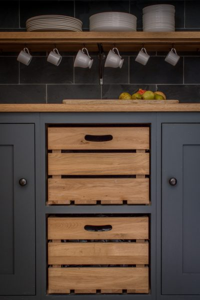 Bespoke oak crate drawers in shaker style oak kitchen