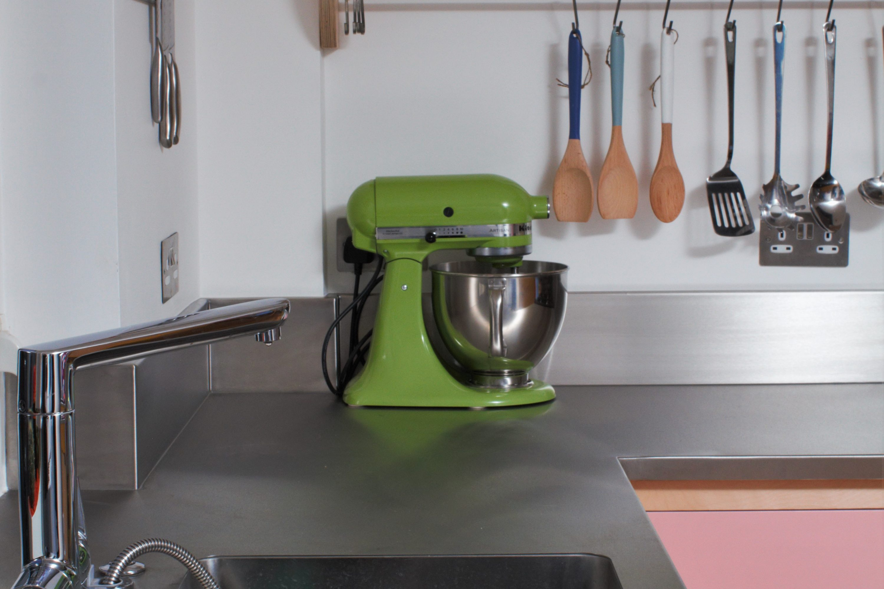Colourful Flat Panelled Plywood Kitchen With Inbuilt Sink Stainless Steel