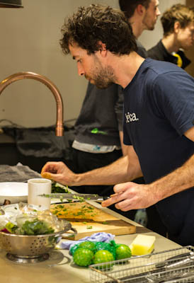 Jon Lewin preparing team lunch for Sustainable Kitchens