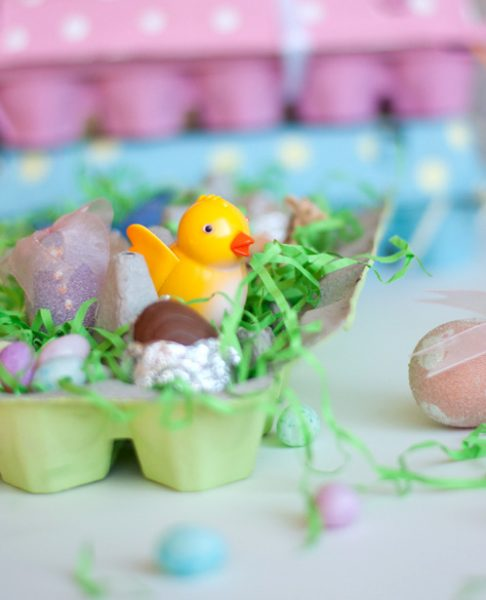 painted Easter egg boxes with eggs and chicks