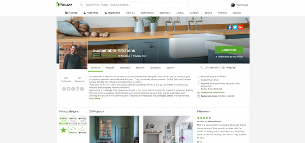 Sustainable Kitchens Houzz profile