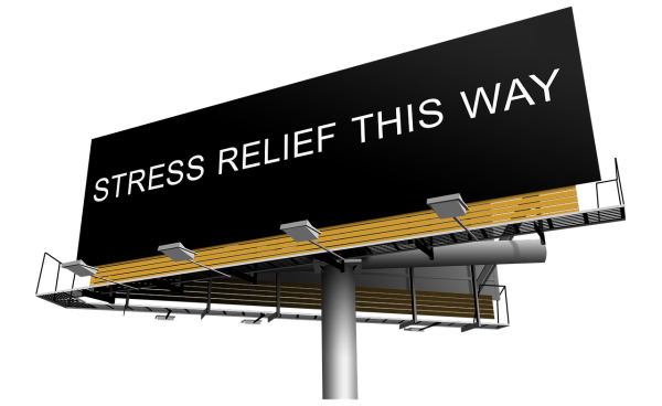stress relief this way billboard