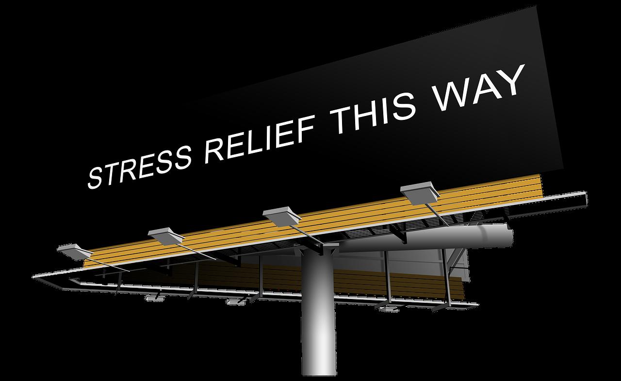 stress relief this way billboard