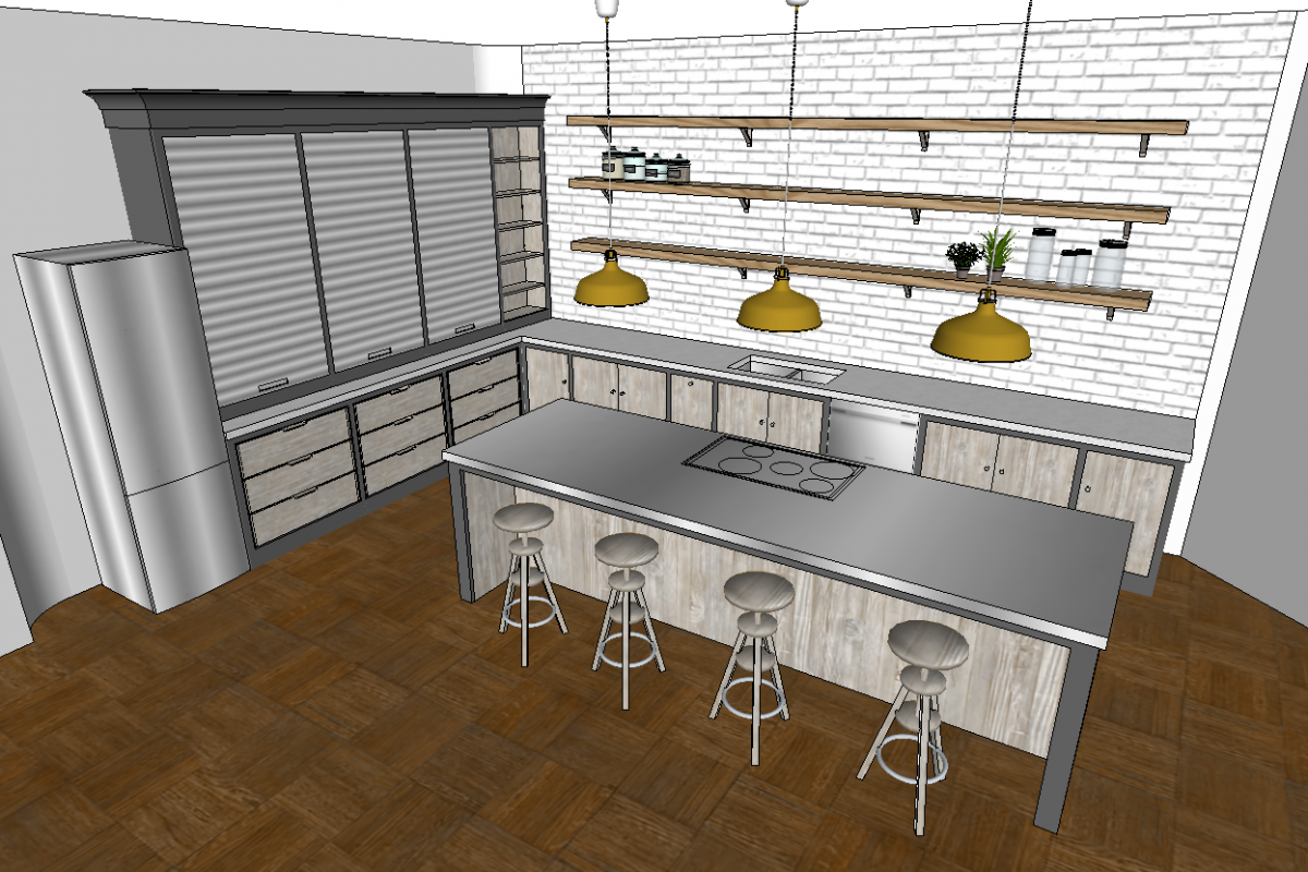 3d Model of kitchen design with stainless steel island and industrial features