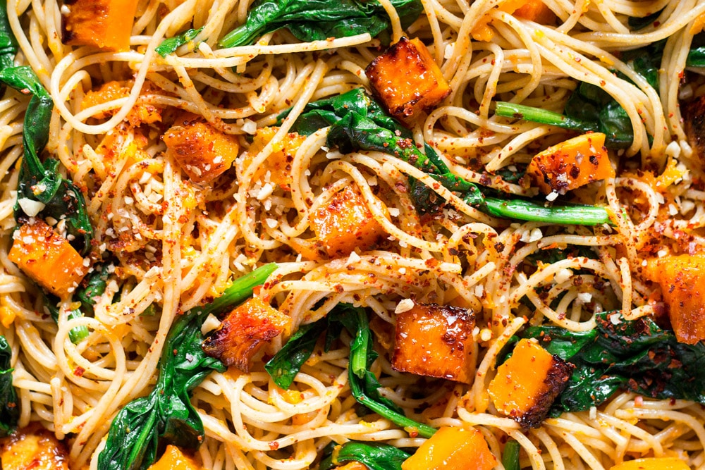 Pumpkin, spinach walnut spaghetti