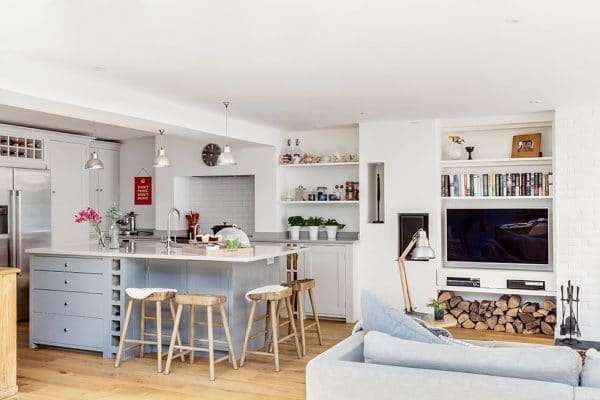 Open plan kitchen and living space