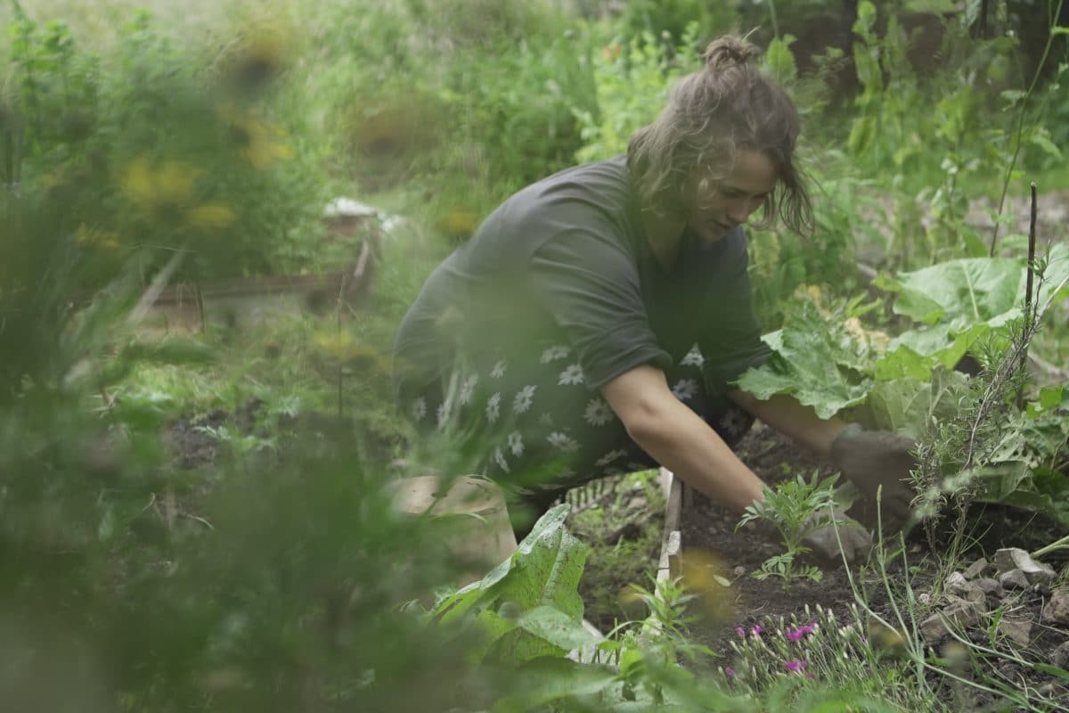 Jess Couceiro working in her allotment