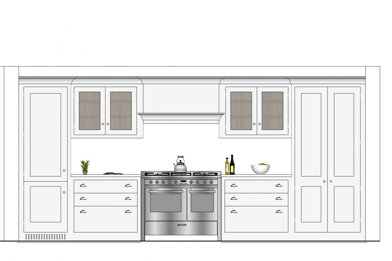 Render of grey shaker style kitchen