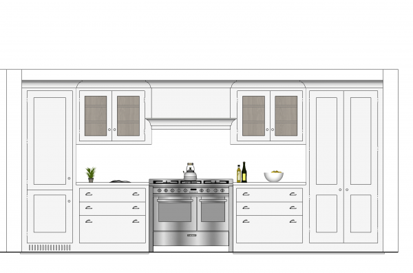 Render of grey shaker style kitchen