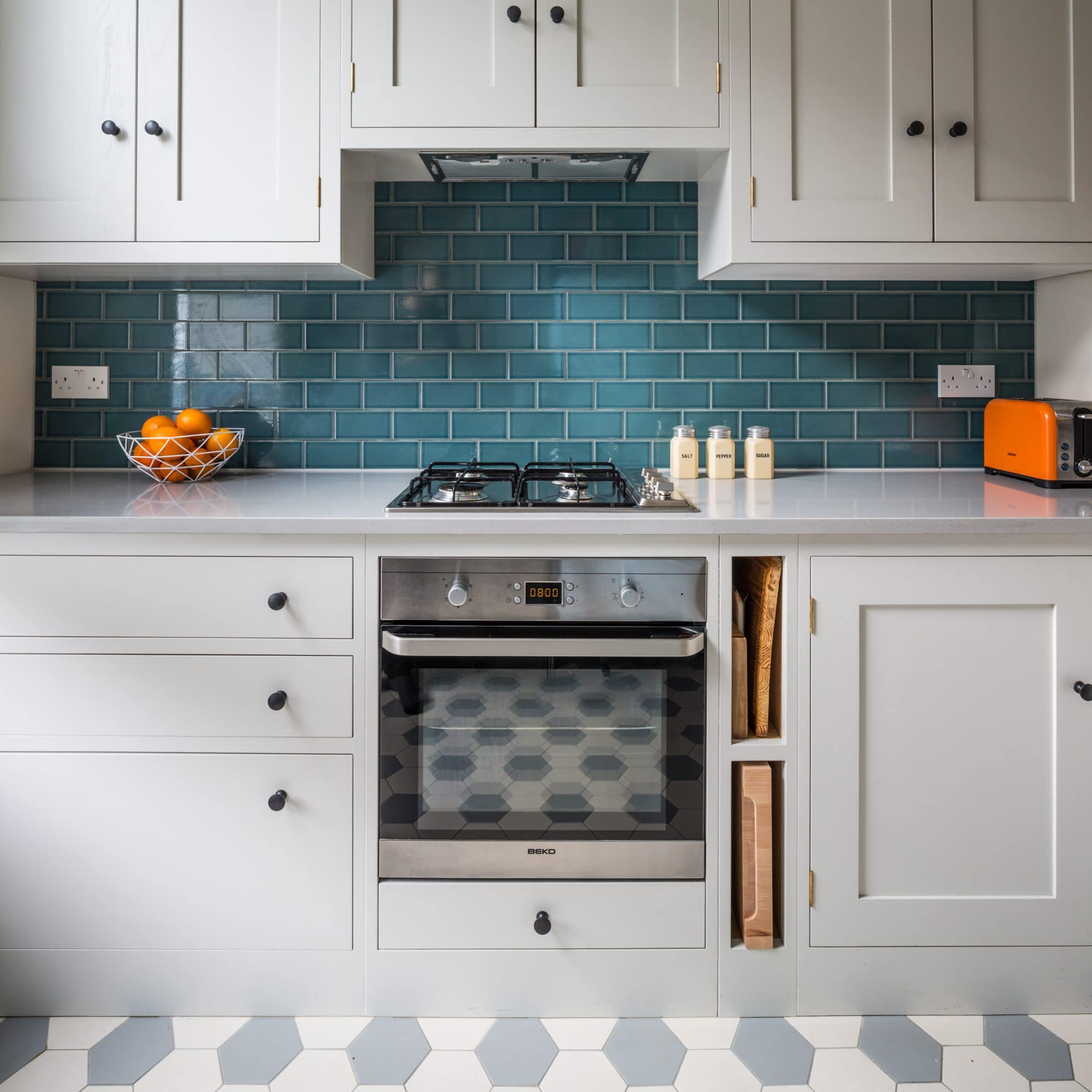 Blue Kitchen London: Quirky Retro Style Shaker Kitchen