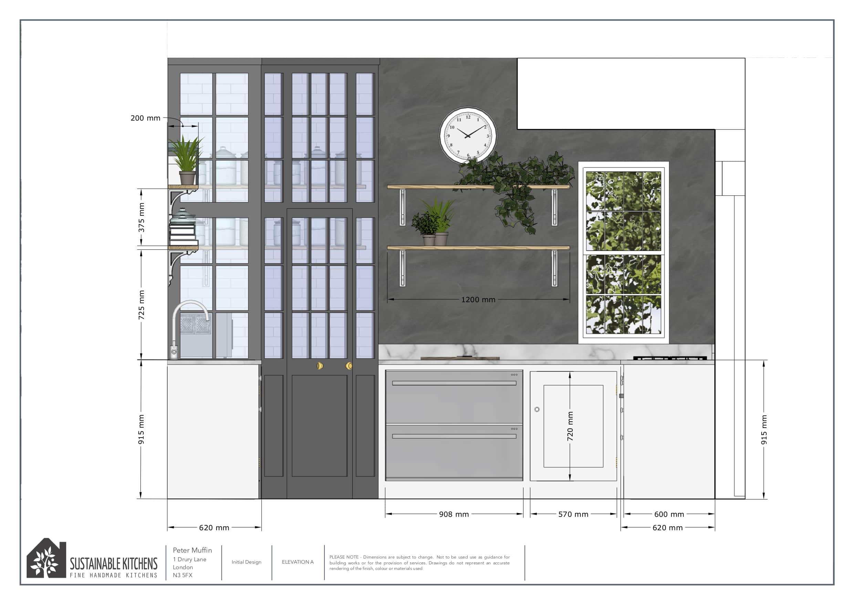 3D elevation render of a kitchen