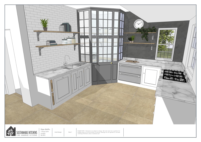 3D design render showing glazed pantry