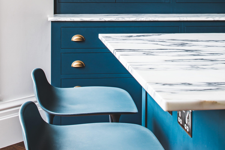Dorbin - Dark Blue Geometric Kitchen - Sustainable Kitchens