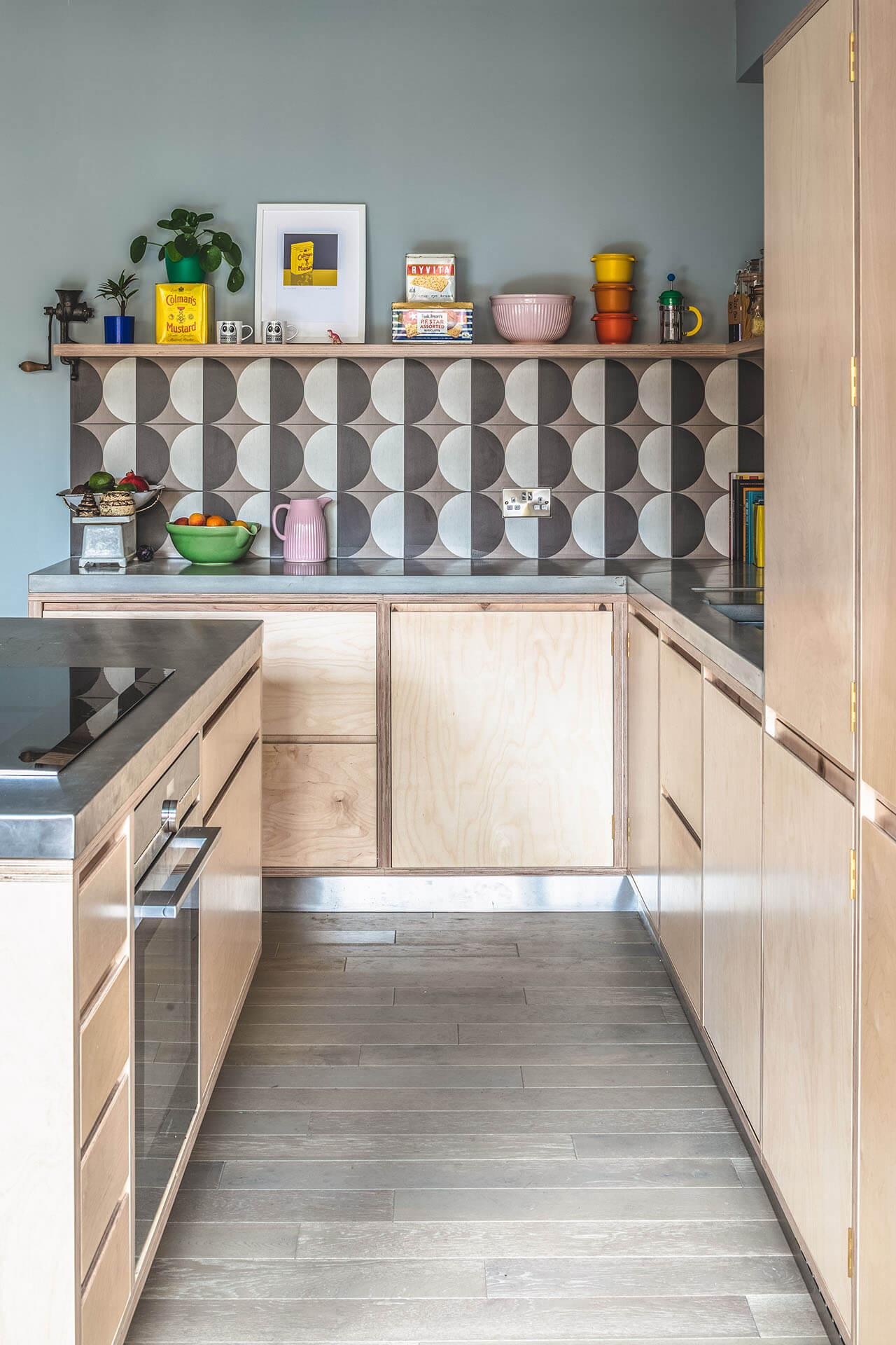 Pegboard Plywood Kitchen with floating shelf