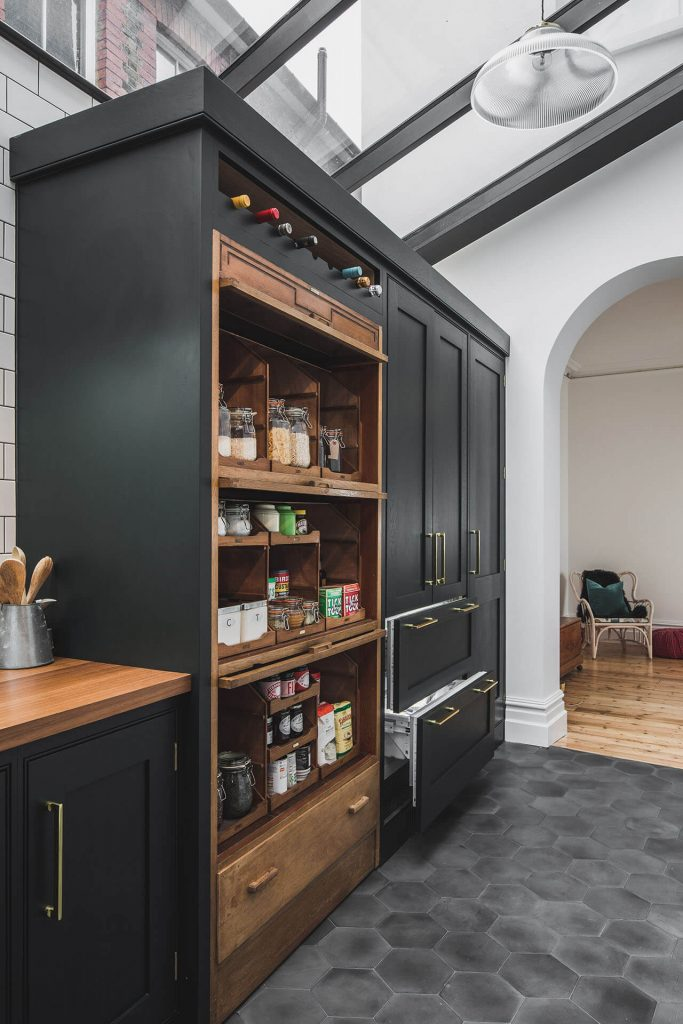 Dark Green Shaker kitchen with double integrated Liebherr Fridge Freezer with Freezer drawers