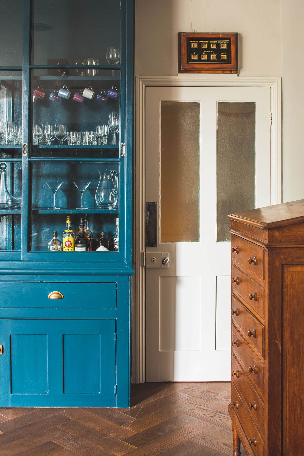 Dark Blue Geometric Kitchen - Sustainable Kitchens