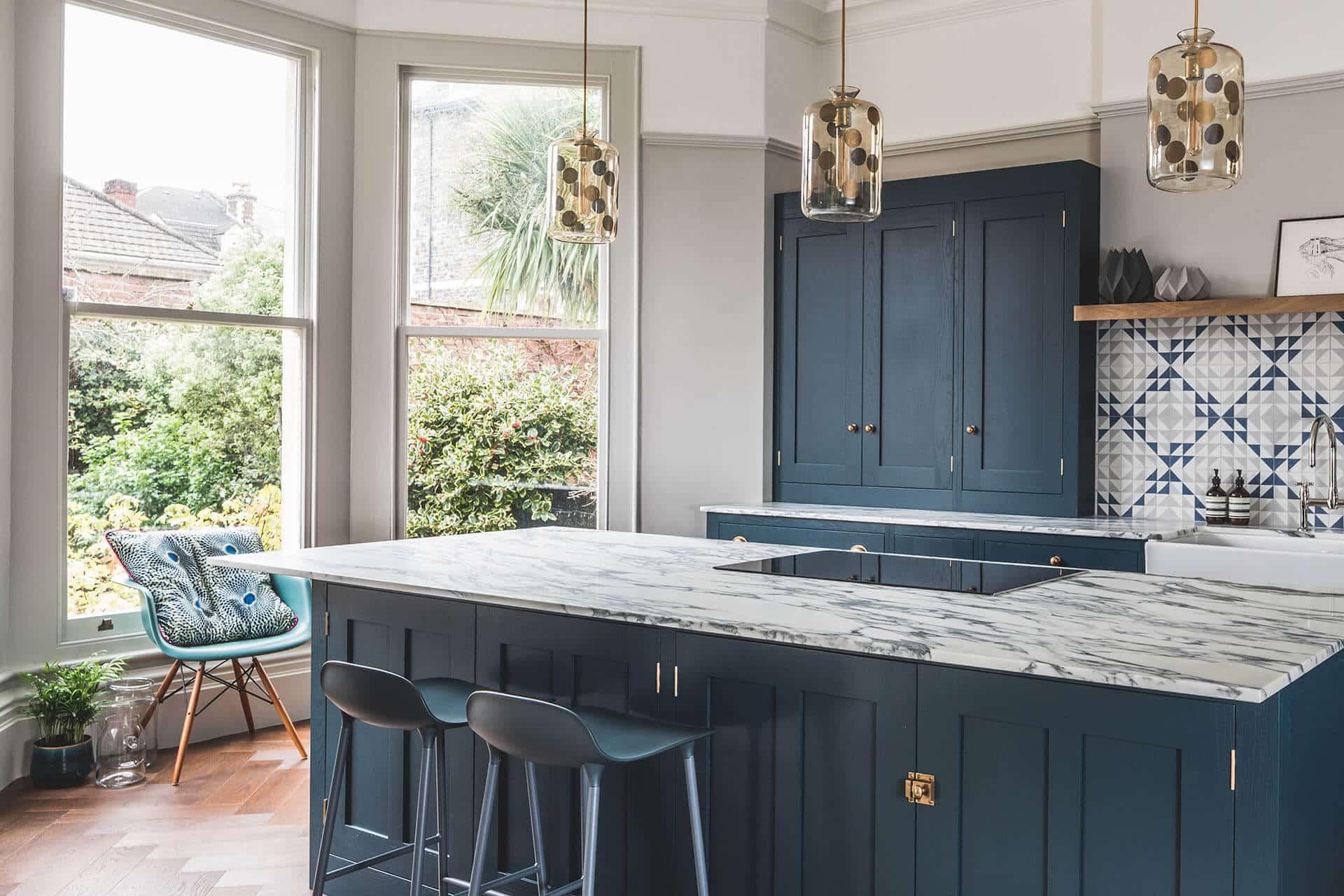 Dark Blue Geometric Kitchen Sustainable Kitchens