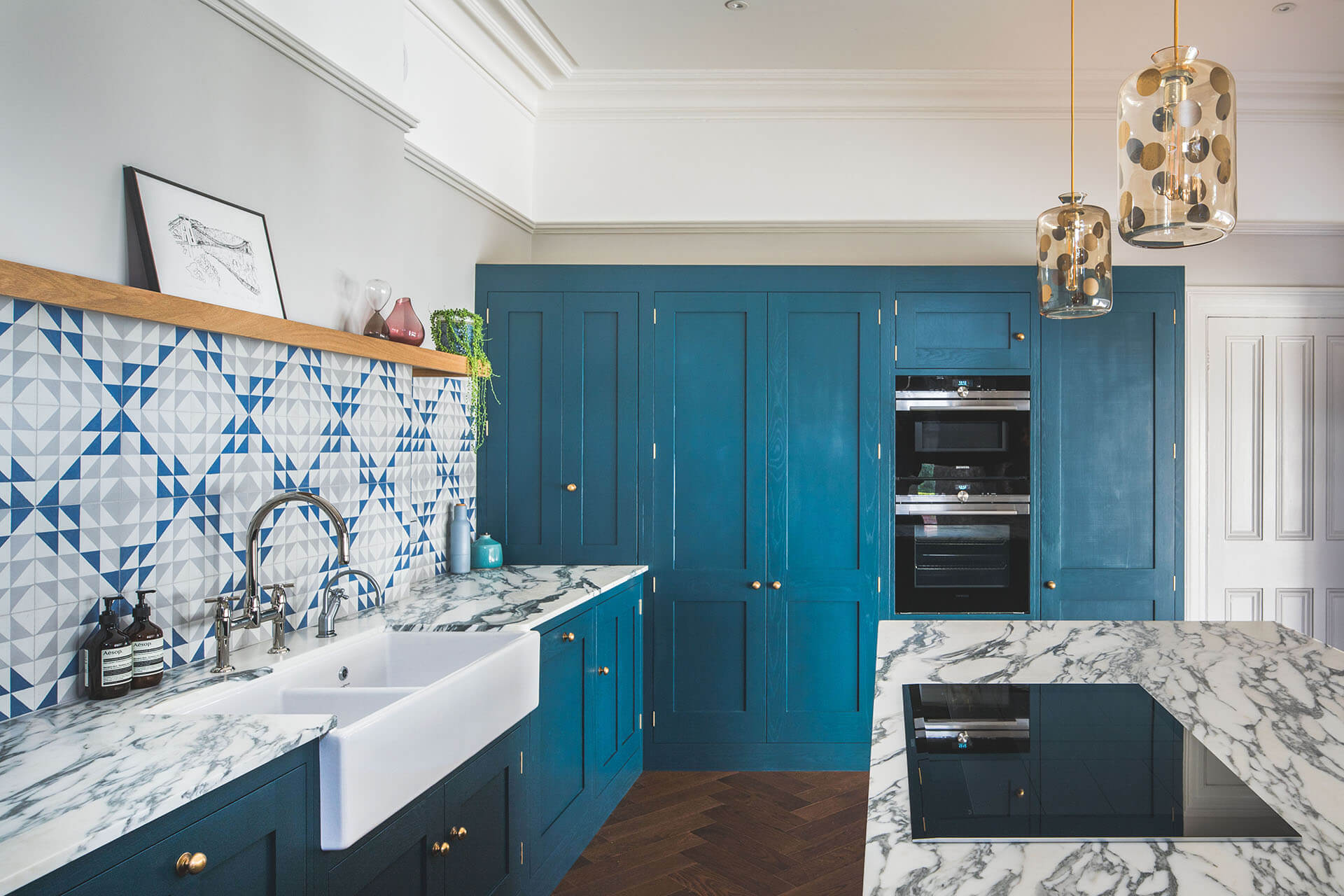 Dark Blue Geometric Kitchen Sustainable Kitchens