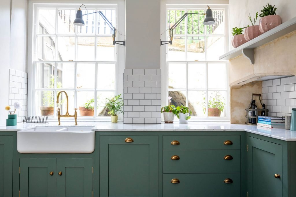 Featured Image - Green Shaker Kitchen with Perrin & Rowe Ionian Aged Brass Tap & Shaws Belfast Sink