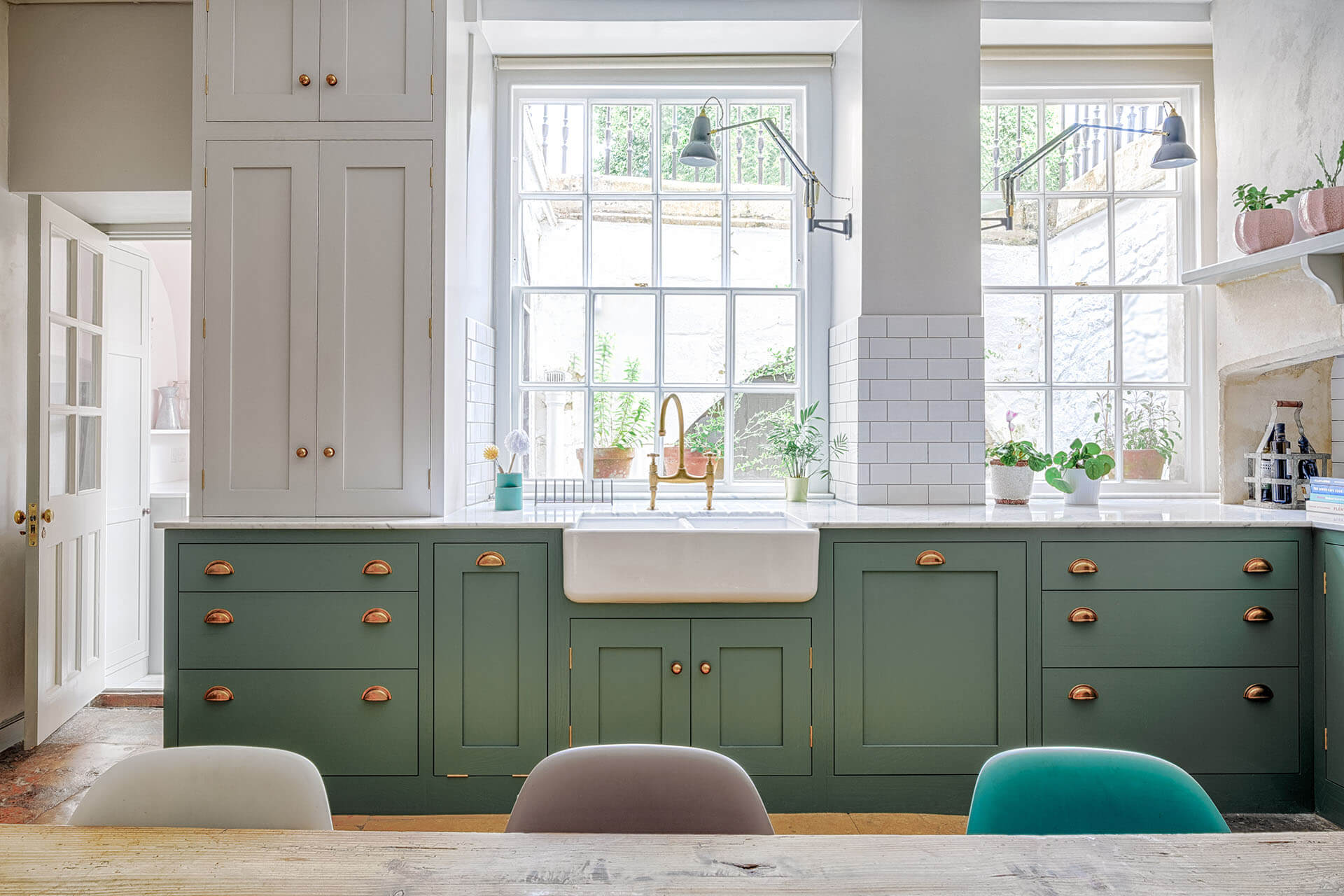 Green Shaker Kitchen with Brass Accents including an Aged Brass Tap from perrin & Rowe