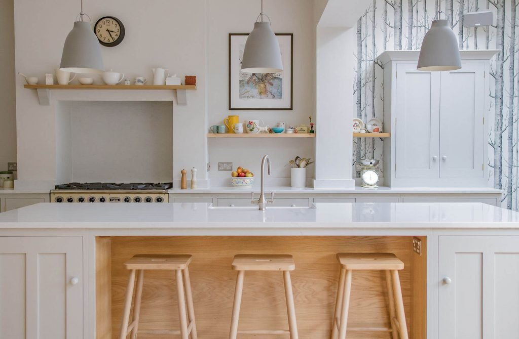 Scandinavian Woodland Kitchen with large centre island and white quartz worktop