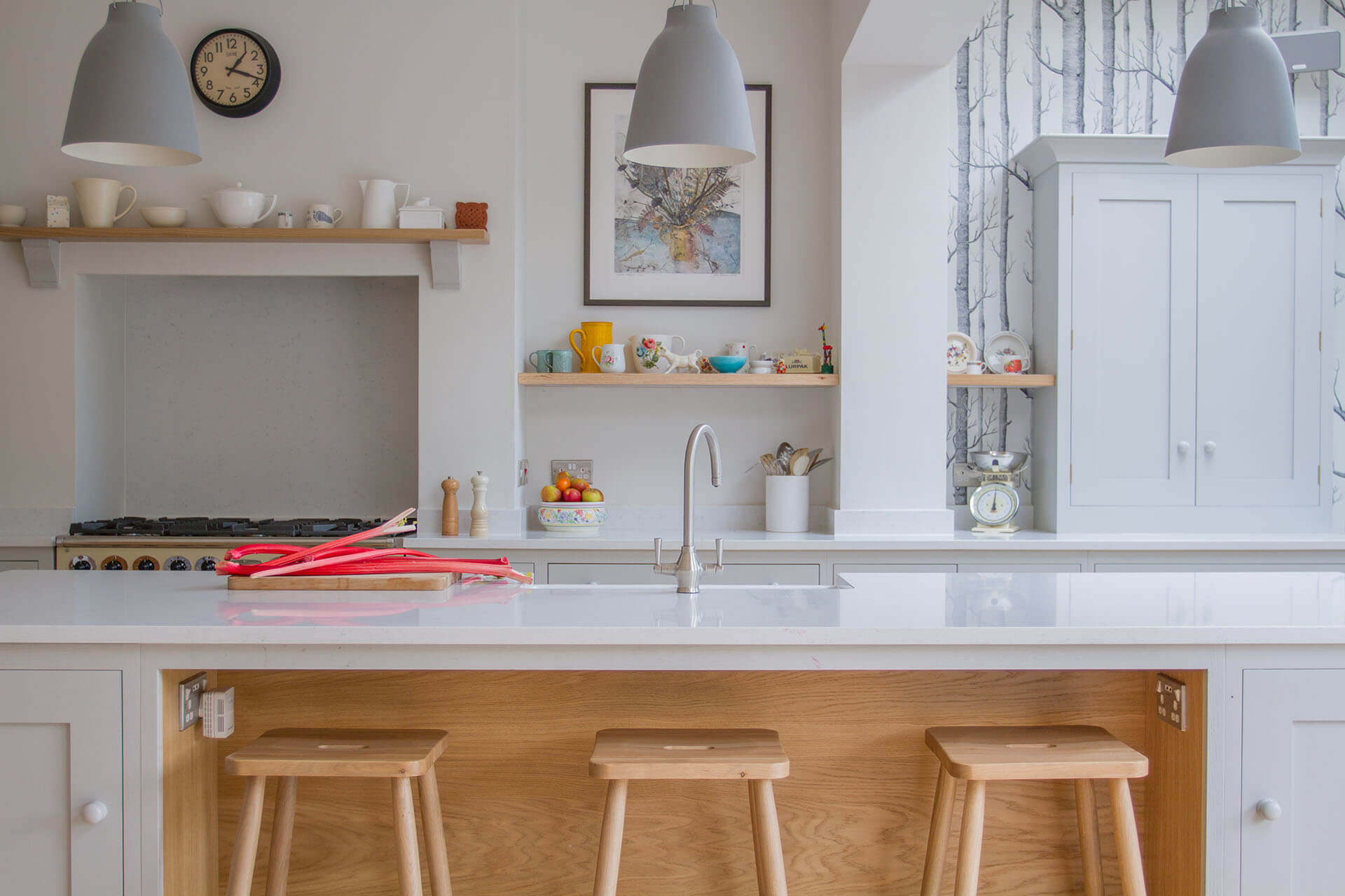 Scandinavian Woodland Kitchen with large kitchen centre island and bar stools