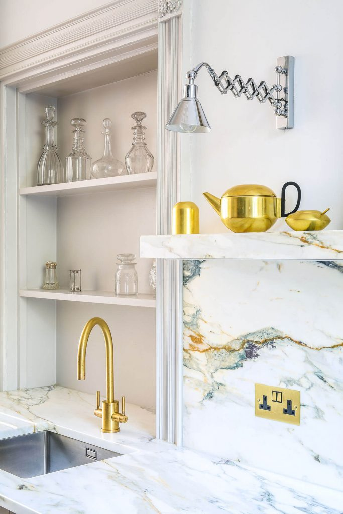 Steel, Marble Contemporary Kitchen with marble worktop and Perrin & Rowe Orbiq tap in satin brass