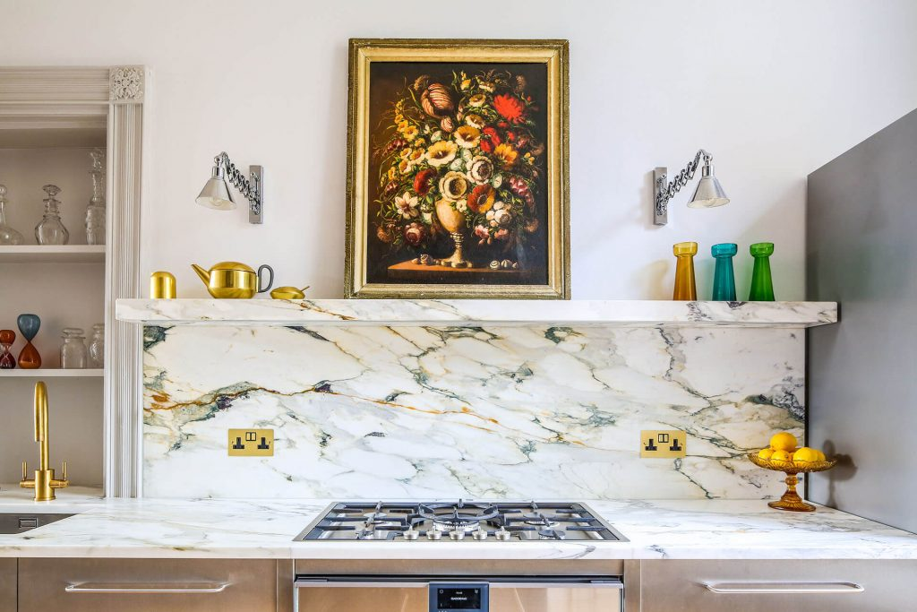 Steel, Marble Contemporary Kitchen with marble worktop and marble floating shelf