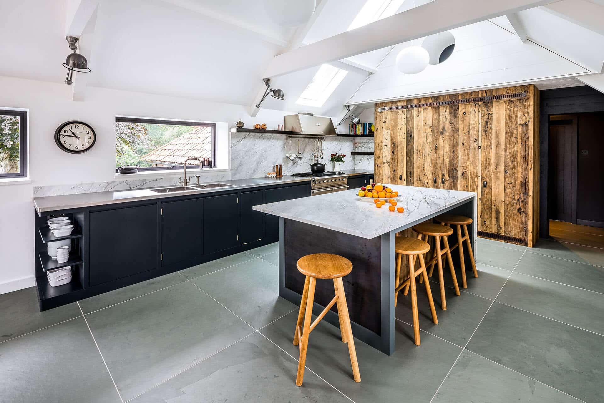 Steel, Marble, Reclaimed Wood Kitchen
