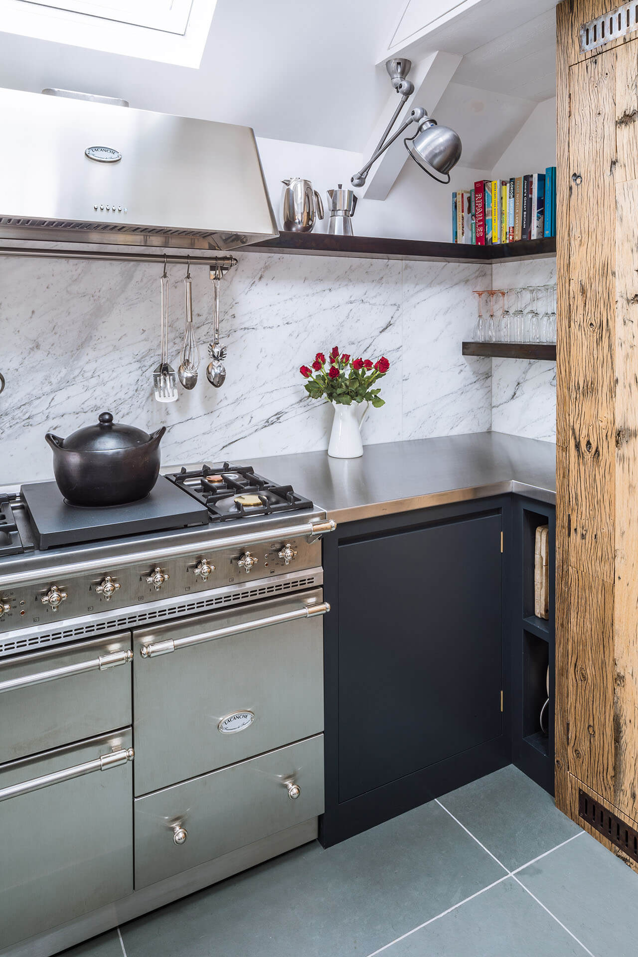 Steel, Marble, Reclaimed Wood Kitchen with Lacanche rangle, stainless stell worktop and antiqued copper floating shelves