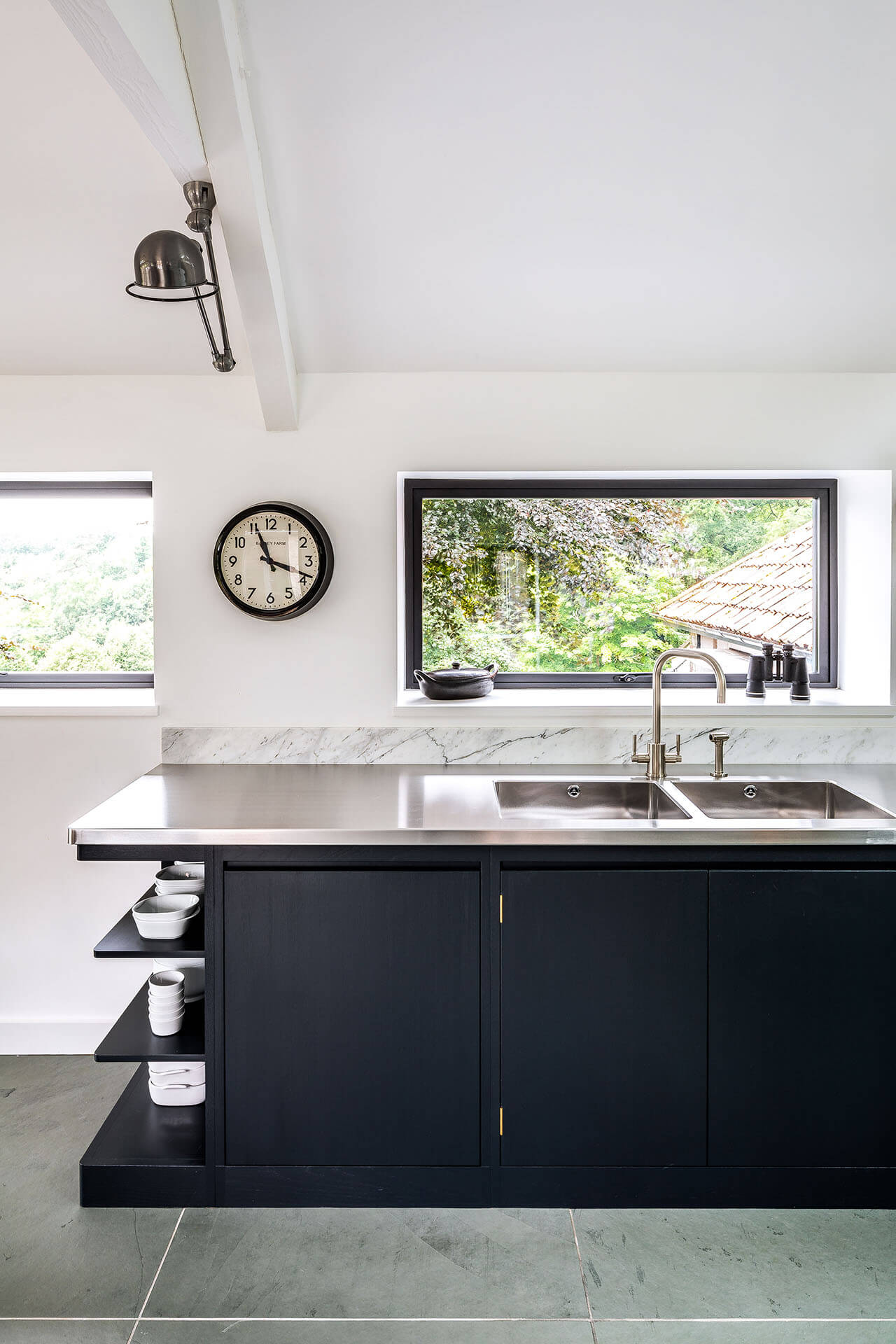Steel, Marble, Reclaimed Wood Kitchen with stainless steel worktop and welded in stainless steel sink