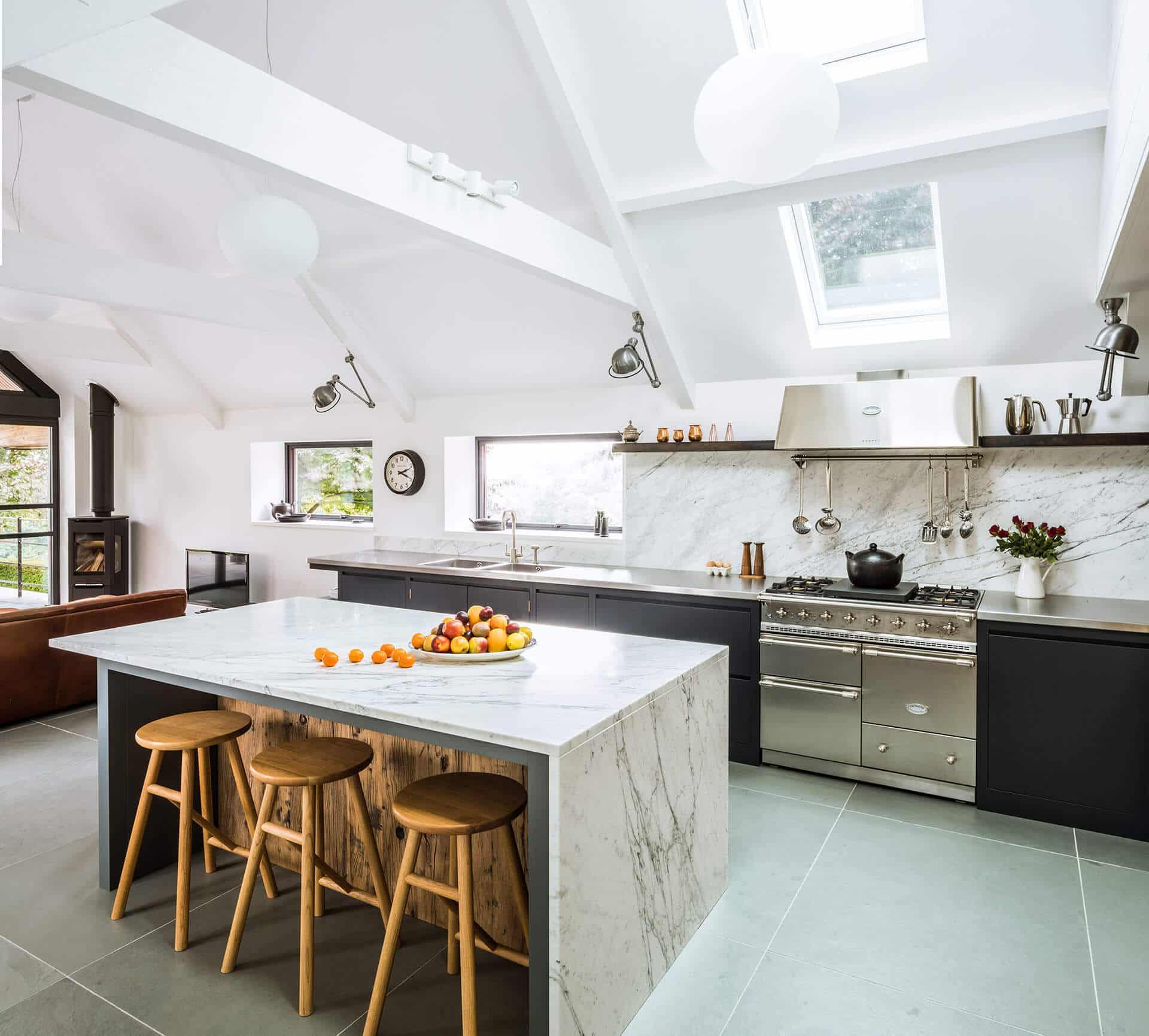outstanding reclaimed wood kitchen island   Steel, Marble, Reclaimed Wood Kitchen - Sustainable Kitchens
