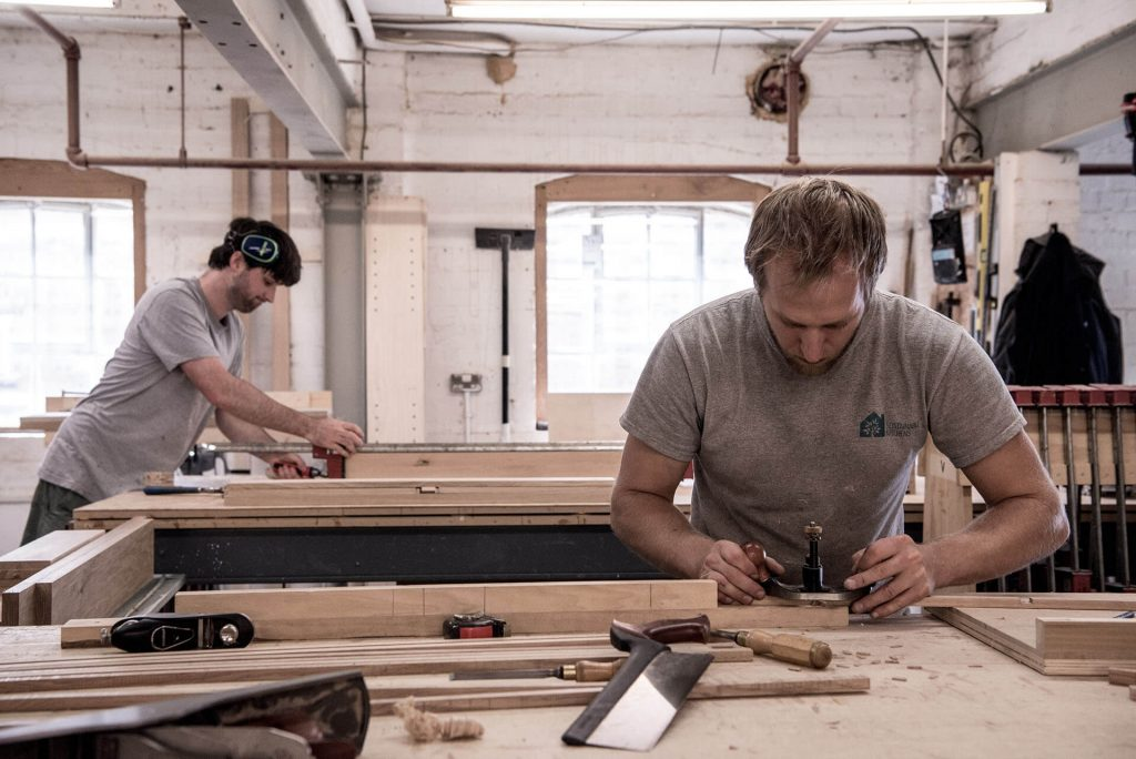 Barney Moore & Ben Barrett working in the workshop September 2018