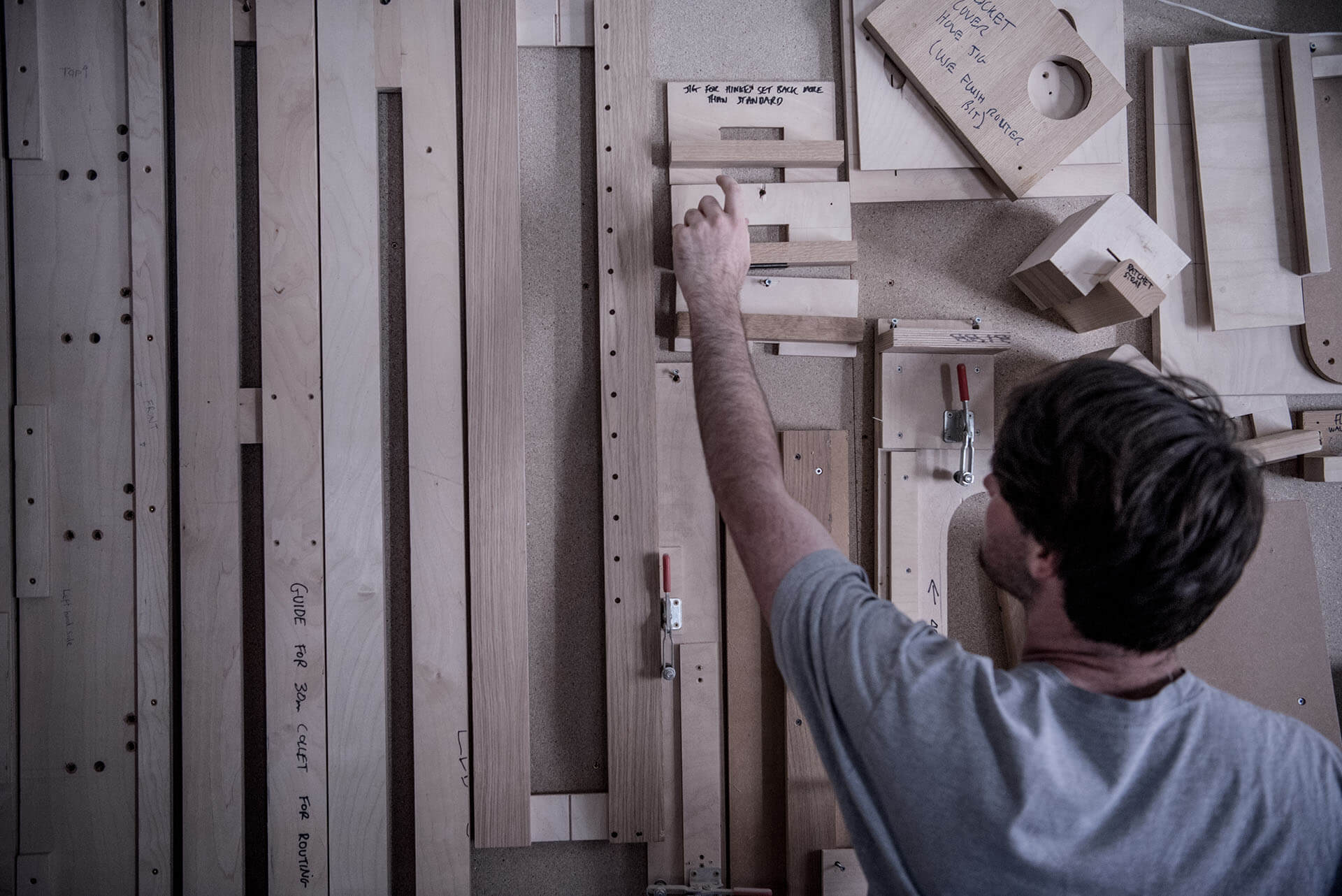 Barney Moore and his lean jig wall in the workshop September 2018