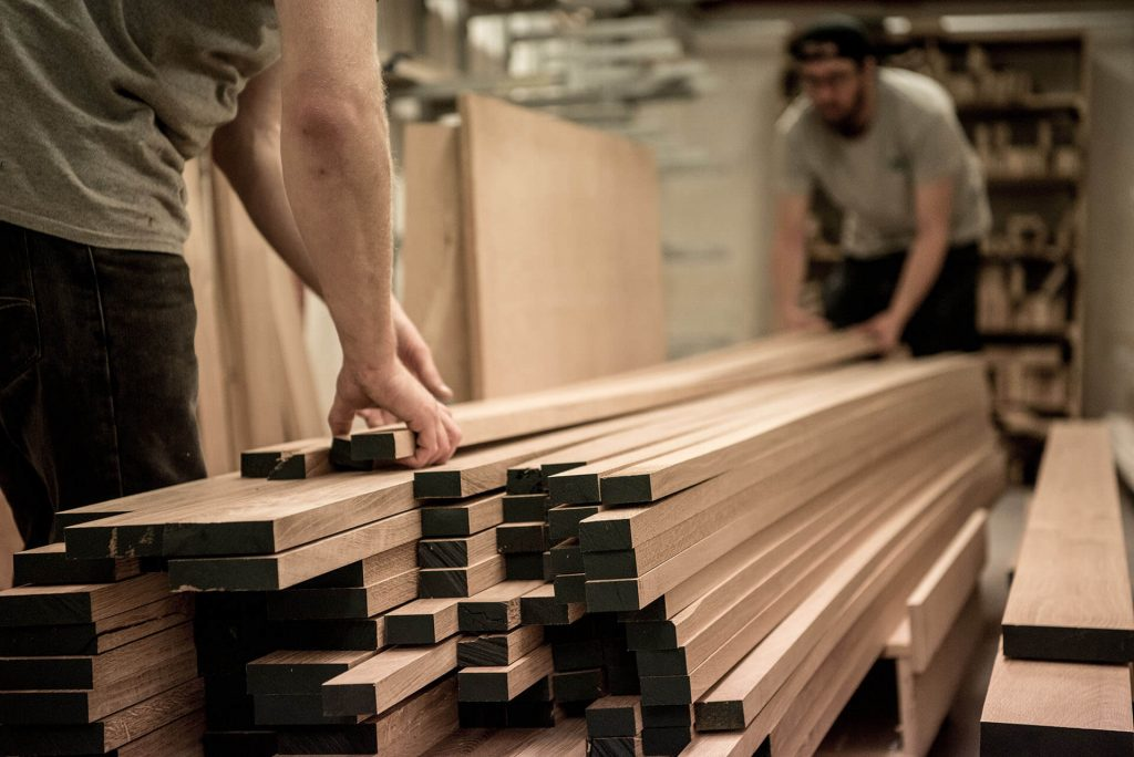 Ben Barrett & Joe Hoyle organising an Oak delivery September 2018