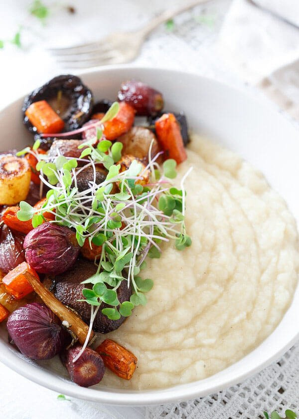 CELERIAC ROOT PUREE WITH ROASTED BALSAMIC VEGETABLES