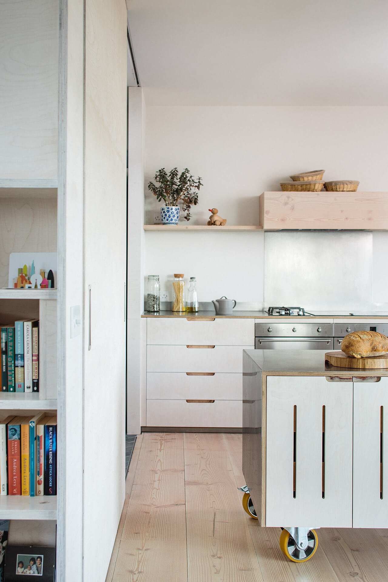 Contemporary Eco Kitchen with movable island on castors