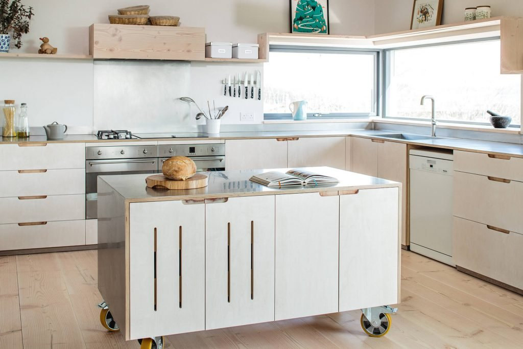 Contemporary Eco Kitchen with plywood cabinets and stainless steel worktops