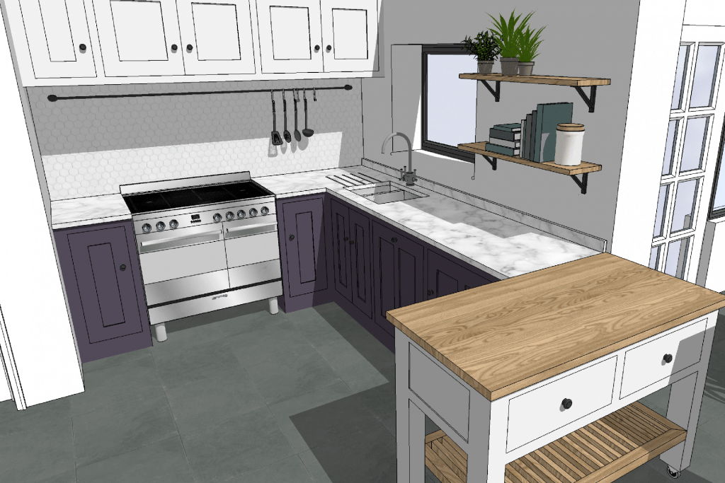 DESIGN EXAMPLE – PERFECTLY PURPLE SHAKER KITCHEN