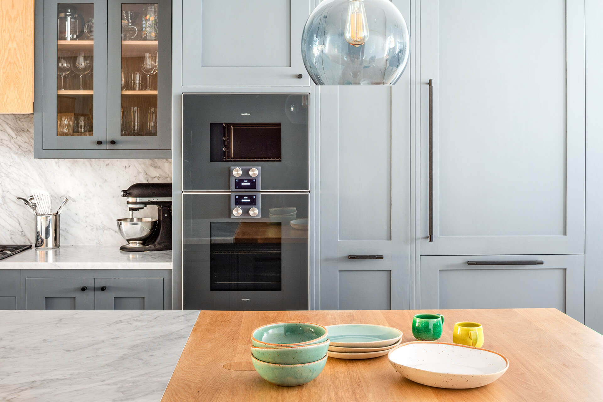 Grand Grey Shaker Kitchen hand painted with Buster and Punch pulls and knobs